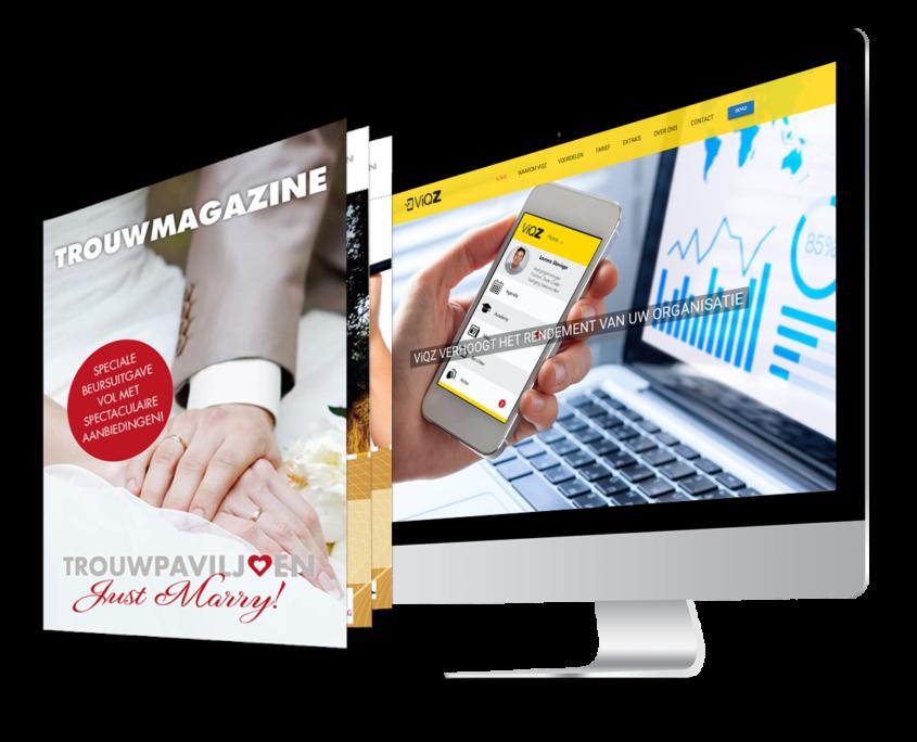 iMac met online uiting met daarnaast een brochure